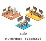 isometric interior of coffee... | Shutterstock .eps vector #516856696