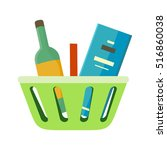 shopping basket with goods  in... | Shutterstock . vector #516860038