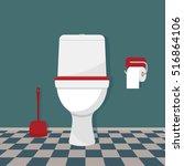 toilet  toilet paper and brush. ...   Shutterstock .eps vector #516864106