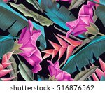 seamless tropical flower  plant ... | Shutterstock . vector #516876562
