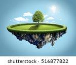 amazing island with tree... | Shutterstock . vector #516877822