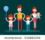 walking in family. isolated... | Shutterstock .eps vector #516882346