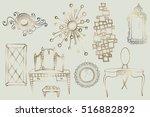 set of sketches of elegant... | Shutterstock .eps vector #516882892