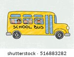 school bus old and funny... | Shutterstock .eps vector #516883282