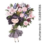 cute girl with flowers.children ... | Shutterstock .eps vector #516884086