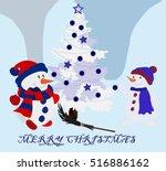 meeting snowmen in snowy weather | Shutterstock .eps vector #516886162