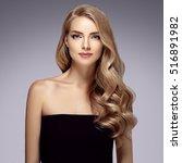 amazing woman portrait.... | Shutterstock . vector #516891982