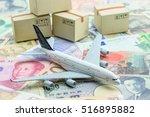 white model airplane lands on... | Shutterstock . vector #516895882