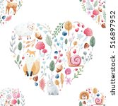 cute heart with nice hand drawn ... | Shutterstock . vector #516897952