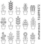 set of houseplants outline icons | Shutterstock .eps vector #516898372