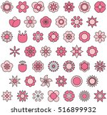 set of pink flowers filled line ... | Shutterstock .eps vector #516899932