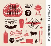 barbecue party vector retro... | Shutterstock .eps vector #516901426