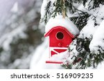 Red Barn Birdhouse Covered In...