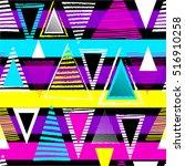 vector geometric ethnic neon...   Shutterstock .eps vector #516910258