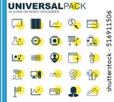 set of 25 universal editable... | Shutterstock .eps vector #516911506