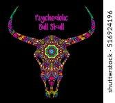 psychedelic bull skull head... | Shutterstock .eps vector #516924196