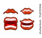 lips set of emotions. shouts... | Shutterstock . vector #516933346
