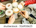 friends group toasting... | Shutterstock . vector #516933625