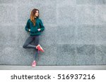 fitness sport girl in fashion... | Shutterstock . vector #516937216