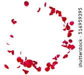 Stock photo red rose petals scattered on the floor in a semi circle there is a place for your text or photo 516959395