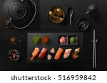 sushi rolls  sashimi set  miso... | Shutterstock . vector #516959842