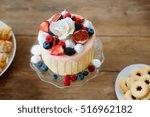cake with various berries ... | Shutterstock . vector #516962182
