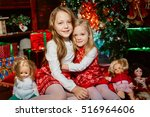 two sisters blonde sitting by... | Shutterstock . vector #516964606