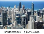 chicago aerial view looking... | Shutterstock . vector #516982336
