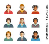 call center agents flat avatars.... | Shutterstock .eps vector #516983188