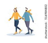 winter recreation. cartoon girl ... | Shutterstock .eps vector #516984802