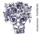 sphinx cat portrait with floral ... | Shutterstock .eps vector #516986182