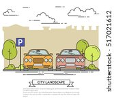 city landscape with modern cars ... | Shutterstock .eps vector #517021612