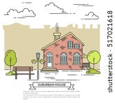 suburb skyline in line art... | Shutterstock .eps vector #517021618