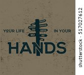 hand drawn label with signpost... | Shutterstock .eps vector #517027612