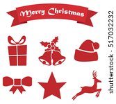 set of christmas icons on a... | Shutterstock .eps vector #517032232