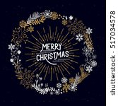 merry christmas wreath with... | Shutterstock .eps vector #517034578
