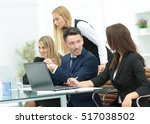 cheerful businessman discussing ... | Shutterstock . vector #517038502