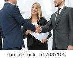 business partner greeting each... | Shutterstock . vector #517039105