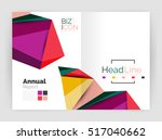 low poly annual report template | Shutterstock . vector #517040662