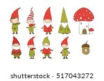 Set Of Cute Cartoon Gnomes....