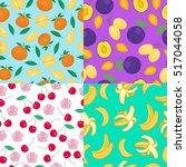 cartoon fresh fruits in flat... | Shutterstock . vector #517044058