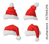 just red christmas santa hat at ... | Shutterstock .eps vector #517044196