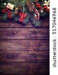 christmas fir tree with... | Shutterstock . vector #517046968
