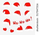 santa claus red hats  mittens...   Shutterstock .eps vector #517047316