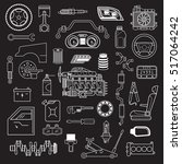 garage. vector car parts set... | Shutterstock .eps vector #517064242