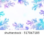 winter. snow covered trees.... | Shutterstock . vector #517067185