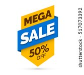 mega sale banner  yellow and... | Shutterstock .eps vector #517073392