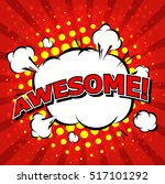 awesome   comic speech bubble ... | Shutterstock .eps vector #517101292