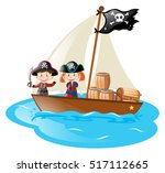 kids in a boat in pirate... | Shutterstock .eps vector #517112665