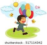 little boy holding balloons in... | Shutterstock .eps vector #517114342